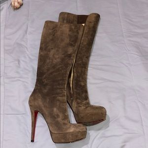 Christian Louboutin Just Below Knee Boots Suede